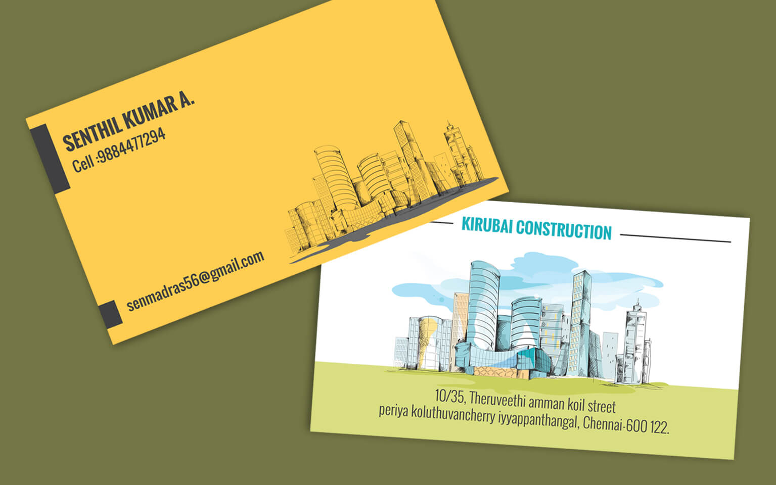 Contractor visiting card format - Business cards for builders