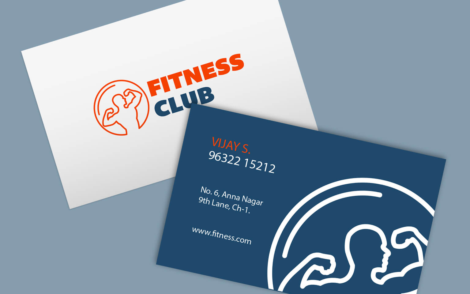 Fitness business cards - gym trainer visiting card